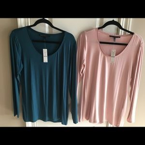 LOT OF 2 NWT WHBM LONG SLEEVE ULTRA LUXE TEES - M